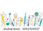 cooking pattern. background for ... | Shutterstock .eps vector #1041524527