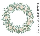 white rose flowers and silver... | Shutterstock .eps vector #1041527191