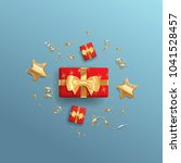 decorative gift boxes with gold ... | Shutterstock .eps vector #1041528457