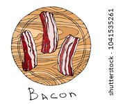 raw bacon slices on a round...   Shutterstock .eps vector #1041535261