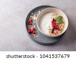 bowl of homemade granola with... | Shutterstock . vector #1041537679