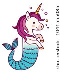 cute unicorn mermaid simple... | Shutterstock .eps vector #1041555085