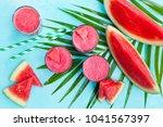 fresh watermelon juice ...   Shutterstock . vector #1041567397