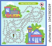 find the right path maze from... | Shutterstock .eps vector #1041583039