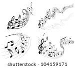 musical notes staff background... | Shutterstock . vector #104159171