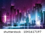 illustration of night urban... | Shutterstock . vector #1041617197