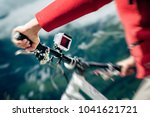 action camera mounted on... | Shutterstock . vector #1041621721