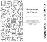 personal hygiene line banner...   Shutterstock .eps vector #1041625615