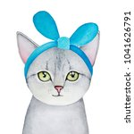 grey kitten portrait with green ... | Shutterstock . vector #1041626791