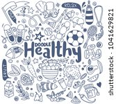 healthy lifestyle concept hand... | Shutterstock .eps vector #1041629821