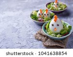 salad with eggs in shape of... | Shutterstock . vector #1041638854