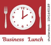 business lunch concept. a plate ... | Shutterstock .eps vector #1041640189