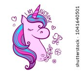 illustration with unicorn ... | Shutterstock .eps vector #1041640501