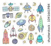 collection of sketchy space... | Shutterstock .eps vector #1041661984