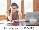 woman with pensive facial...   Shutterstock . vector #1041666061