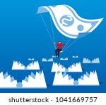 businessman flying parachute... | Shutterstock .eps vector #1041669757