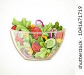 green salad of fresh vegetables ... | Shutterstock .eps vector #1041671719