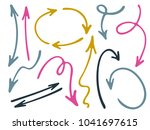 hand drawn diagram arrow icons... | Shutterstock .eps vector #1041697615