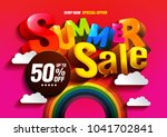 vector summer sale colorful....   Shutterstock .eps vector #1041702841