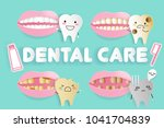 cute cartoon tooth decay... | Shutterstock .eps vector #1041704839