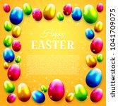 colorful easter eggs on orange... | Shutterstock .eps vector #1041709075