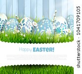 traditional easter greeting... | Shutterstock .eps vector #1041709105