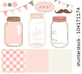 glass jars  frames and cute... | Shutterstock .eps vector #104171174