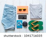 men's casual outfits of... | Shutterstock . vector #1041716035