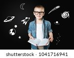 curious boy. clever cheerful... | Shutterstock . vector #1041716941