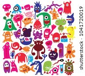 hand drawn black monster... | Shutterstock .eps vector #1041720019