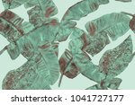 banana leaf tropical seamless... | Shutterstock . vector #1041727177