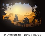 forest silhouettes vector... | Shutterstock .eps vector #1041740719