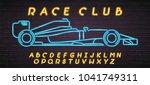 race car neon light glowing... | Shutterstock .eps vector #1041749311