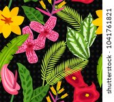 seamless tropical pattern with...   Shutterstock .eps vector #1041761821
