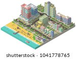 low poly city near the beach... | Shutterstock . vector #1041778765
