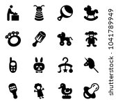 solid vector icon set   baby... | Shutterstock .eps vector #1041789949