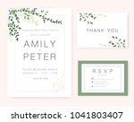 wedding invitation card green... | Shutterstock .eps vector #1041803407