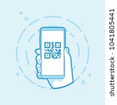 qr code icon on smartphone... | Shutterstock .eps vector #1041805441