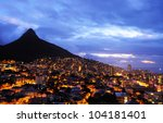 cape town city with lion head... | Shutterstock . vector #104181401
