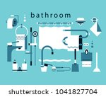 bathroom accessories. shower... | Shutterstock .eps vector #1041827704