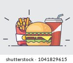 simple burger set. burger with... | Shutterstock .eps vector #1041829615