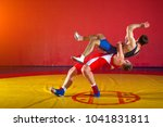 two greco roman  wrestlers in... | Shutterstock . vector #1041831811