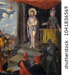 Small photo of VELIKA MLAKA, CROATIA - MARCH 28: The Trial of Jesus Christ, altarpiece in the Church of the Saint Barbara in Velika Mlaka, Croatia on March 28, 2017.