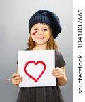 little painter girl with a... | Shutterstock . vector #1041837661