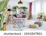 poufs on striped carpet in... | Shutterstock . vector #1041847801