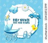 baby shower set. invitation...   Shutterstock .eps vector #1041851599