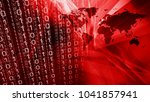 cyber security red world map | Shutterstock . vector #1041857941