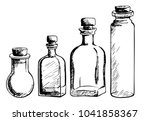Set Of Hand Drawn Bottles. A...