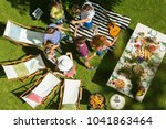 top view of young people on... | Shutterstock . vector #1041863464