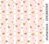 gold heart seamless pattern.... | Shutterstock .eps vector #1041863569